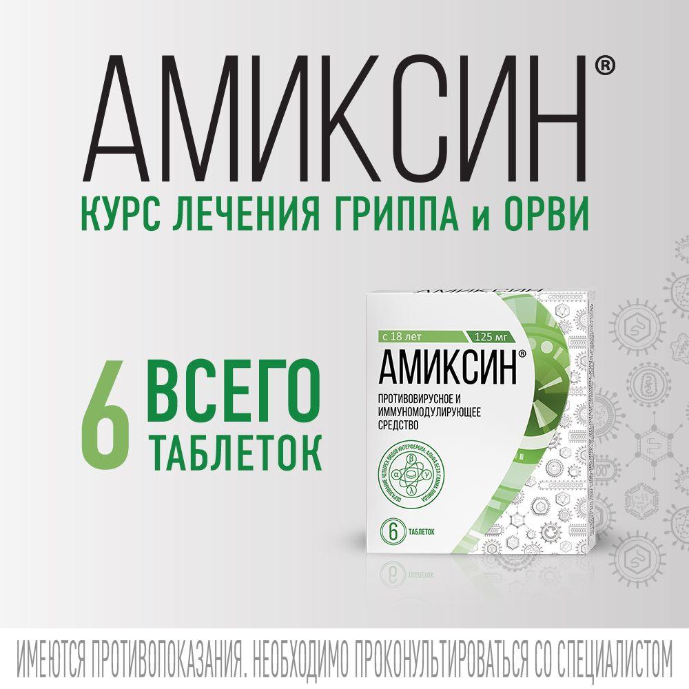 Амиксин, 125 мг, таблетки, покрытые пленочной оболочкой, противовирусное, 6шт.