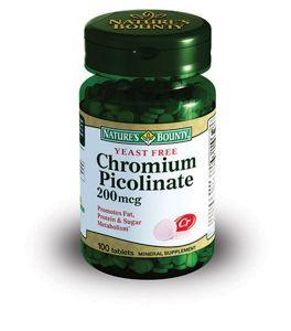 Natures Bounty Пиколинат хрома, 200 мкг, таблетки, 100шт.