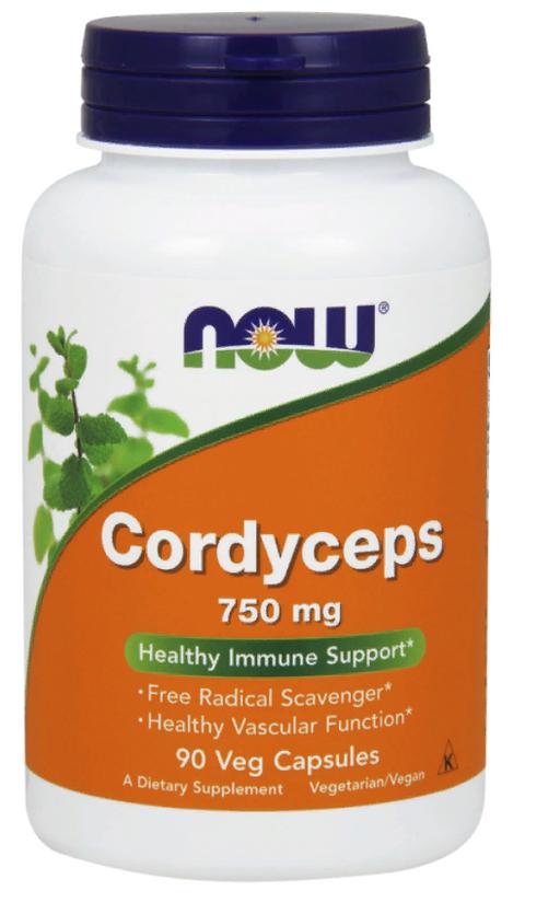 NOW Cordyceps Кордицепс, 750 мг, капсулы, 90шт.