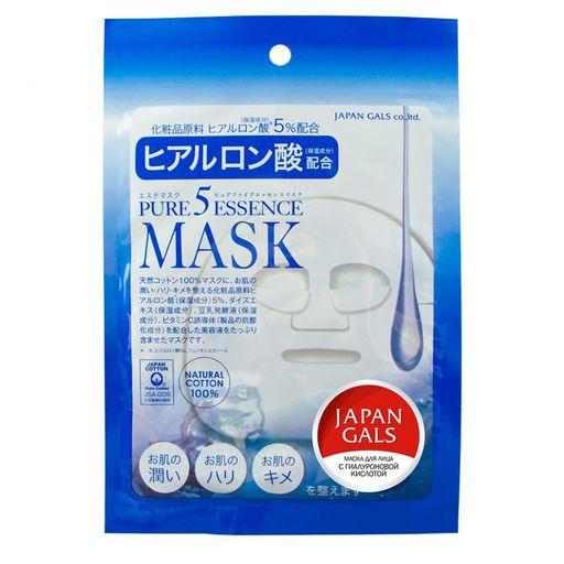 Japan Gals Pure5 Essential Маска лица с гиалуроновой кислотой, маска для лица, 1шт.