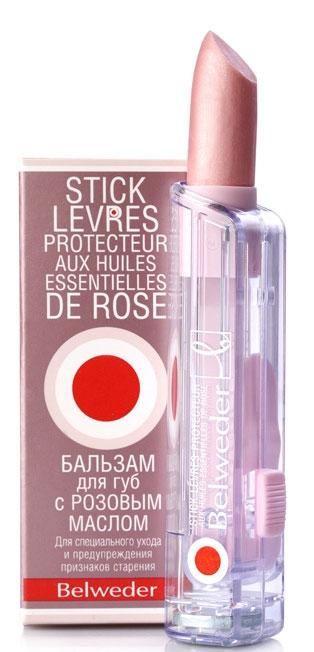 Belweder Бальзам для губ с розовым маслом, бальзам для губ, с перламутровым блеском, 4 г, 1шт.