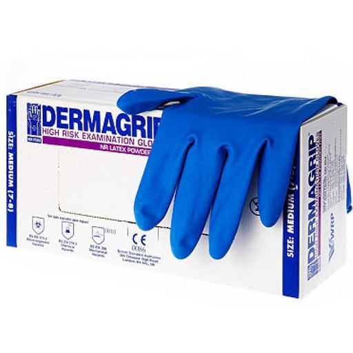Перчатки смотровые латексные неопудренные Dermagrip High Risk, размер M, нестерильная (ые, ый), 50шт.
