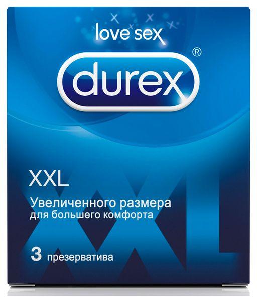 Презервативы Durex XXL, увеличенный размер, презерватив, гладкие, 3шт.