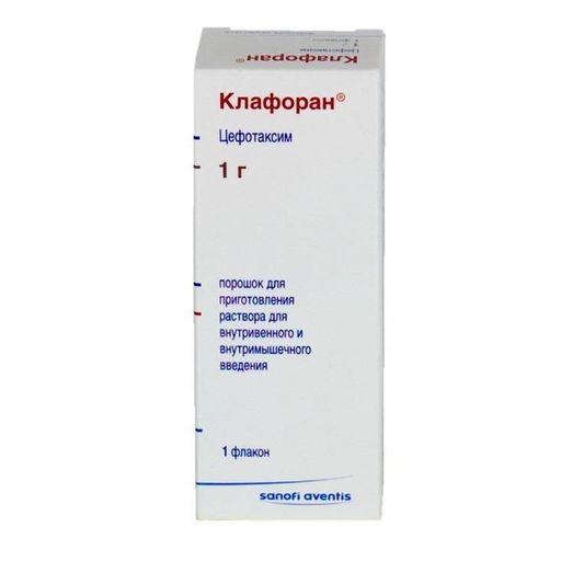Клафоран, 1 г, порошок для приготовления раствора для внутривенного и внутримышечного введения, 1шт.