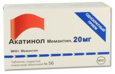 Акатинол Мемантин, 20 мг, таблетки, покрытые пленочной оболочкой, 56шт.