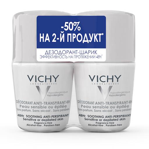 Vichy Deodorants дезодорант для чувствительной кожи 48 ч, део-ролик, 50 мл, 2шт.