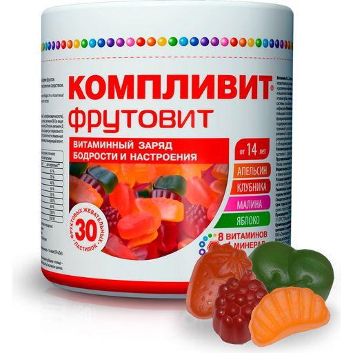 Компливит ФрутоВит, 0.45 г, пастилки жевательные, витамины + минералы, 30шт.