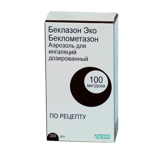 Беклазон Эко, 100 мкг/доза, 200 доз, аэрозоль для ингаляций дозированный, 1шт.