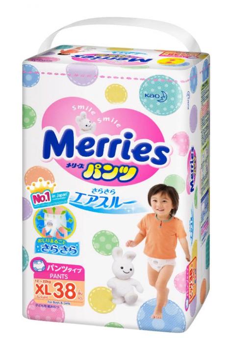Подгузники-трусики детские Merries, 12-22 кг, р. XL, 38шт.