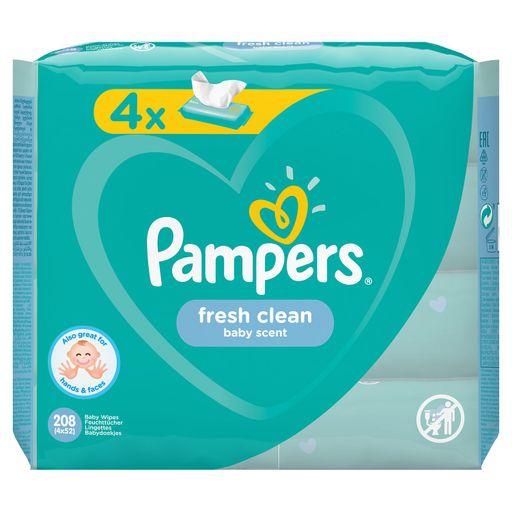 Pampers Fresh clean Салфетки влажные детские, 208шт.