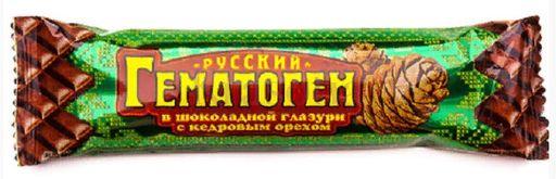 Гематоген Русский с кедровым орехом, плитка, 40 г, 1шт.