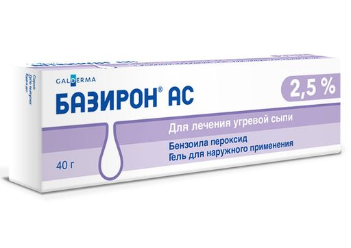 Базирон АС, 2.5%, гель для наружного применения, 40 г, 1шт.
