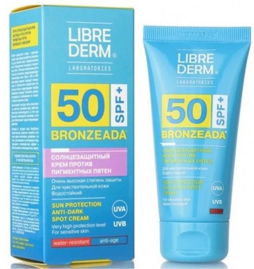 Librederm Bronzeada Крем для лица и зоны декольте солнцезащитный против пигментных пятен SPF50, крем, 50 мл, 1шт.