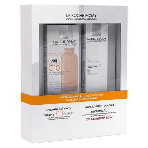 La Roche-Posay Набор Комплексный антивозрастной уход для сияния кожи, набор, Vitamin C10 сыворотка 30мл + Redermic С уход для контура глаз 15мл, 2шт.