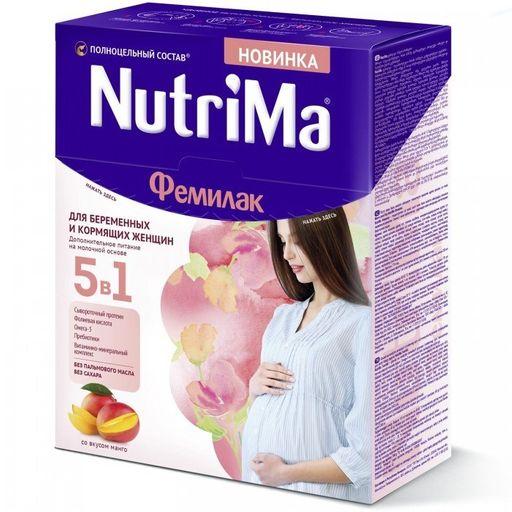 NutriMa Фемилак Молочный напиток для беременных и кормящих, напиток, со вкусом манго, 350 г, 1шт.