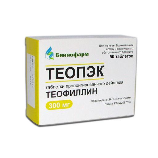 Теопэк, 300 мг, таблетки пролонгированного действия, 50шт.