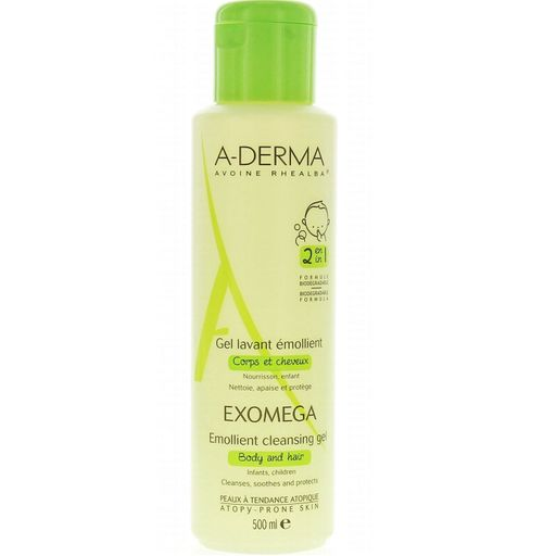 A-Derma Exomega смягчающий очищающий гель 2 в 1 для тела и волос, гель для душа, 500 мл, 1шт.