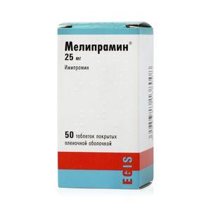 Мелипрамин, 25 мг, таблетки, покрытые пленочной оболочкой, 50шт.