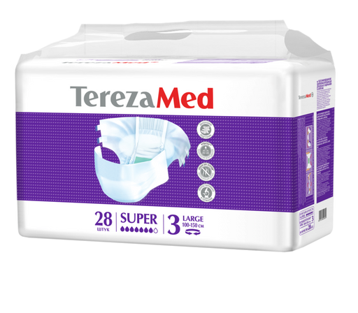 TerezaMed Super подгузники для взрослых ночные, Large L (3), 100-150 см, 28шт.