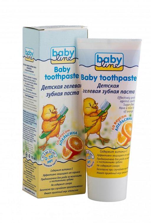 Babyline Зубная паста, гелевая, для детей от 2-х до 10 лет, паста зубная, со вкусом апельсина, 75 мл, 1шт.