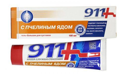 911 гель-бальзам с пчелиным ядом, гель-бальзам, 100 мл, 1шт.