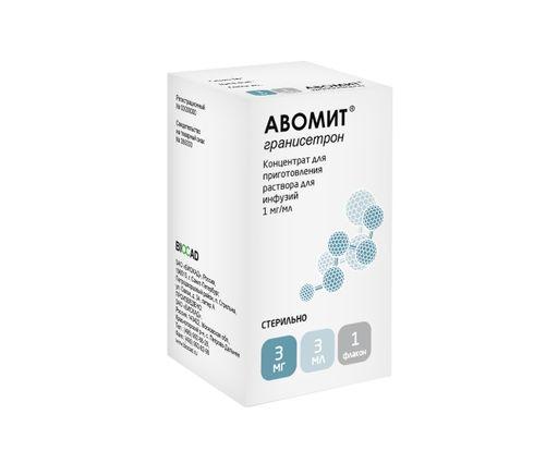 Авомит, 1 мг/мл, концентрат для приготовления раствора для инфузий, 3 мл, 1шт.