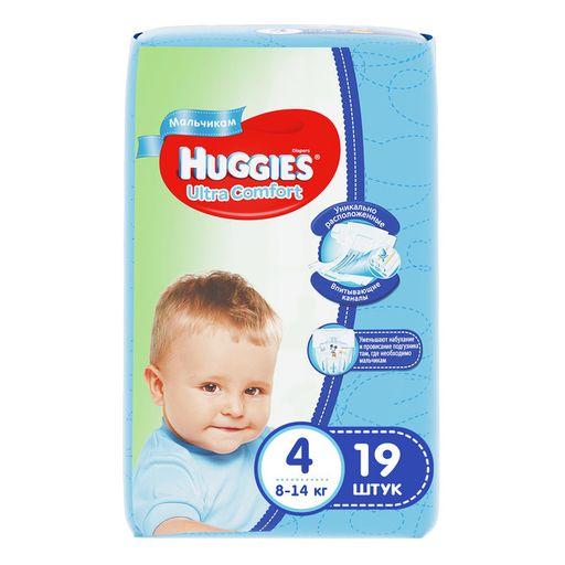 Huggies Ultra Comfort Подгузники детские, р. 4, 8-14 кг, для мальчиков, 19шт.