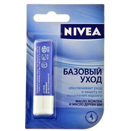 Nivea Бальзам для губ Базовый уход, бальзам для губ, 4.8 г, 1шт.