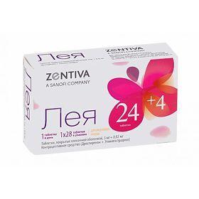 Лея, 3 мг+0.02 мг, набор таблеток, таблетки, покрытые пленочной оболочкой, 24 табл. активн.+4 табл. плацебо, 28шт.