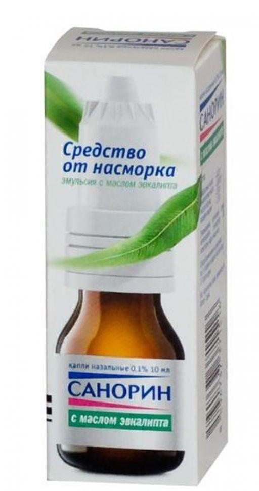 Санорин с маслом эвкалипта, 0.1%, капли назальные, 10 мл, 1шт.