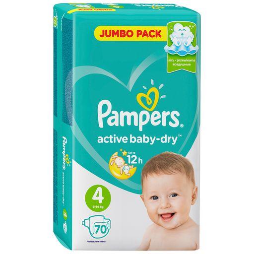 Pampers Active baby-dry Подгузники детские, р. 4, 9-14 кг, 70шт.