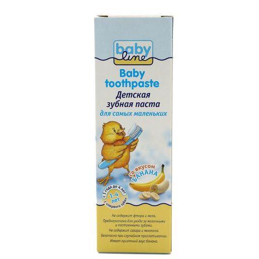 Babyline Зубная паста, для детей с 1-го года до 4-х лет, паста зубная, со вкусом банана, 75 мл, 1шт.