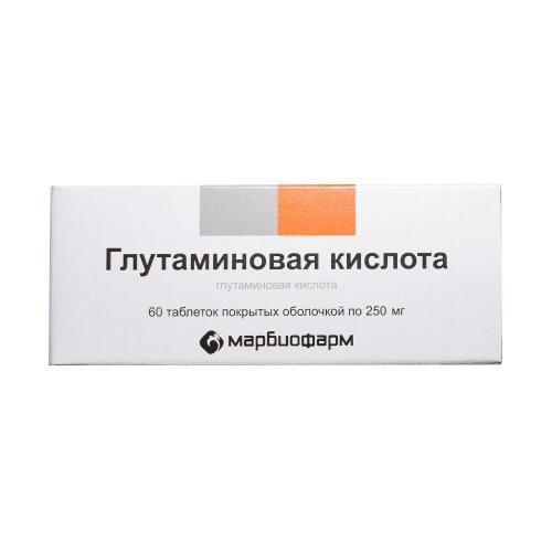 Глутаминовая кислота, 250 мг, таблетки, покрытые оболочкой, 60шт.
