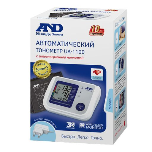 Тонометр AND UA-1100, с адаптером и стандартной манжетой (22-32 см), 1шт.