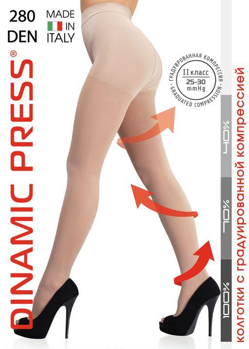 Dinamic Press 280 Колготки 2 класс компрессии, р. 4, 25-30 mm Hg, 280 DEN (телесного цвета), 1шт.
