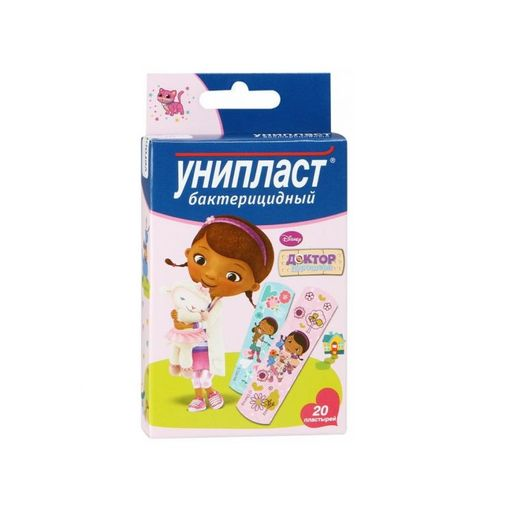 Унипласт лейкопластырь бактерицидный Доктор Плюшева, пластырь для детей, в ассортименте, 20шт.