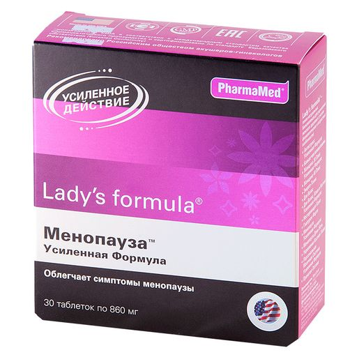 Lady's formula Менопауза Усиленная формула, 860 мг, таблетки, 30шт.