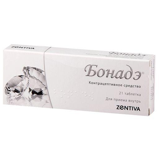 Бонадэ, 2 мг+0.03 мг, таблетки, покрытые пленочной оболочкой, 21шт.