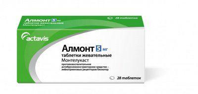 Алмонт, 5 мг, таблетки жевательные, 28шт.