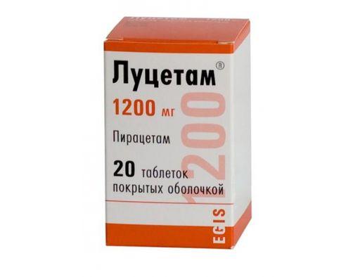 Луцетам, 1200 мг, таблетки, покрытые оболочкой, 20шт.