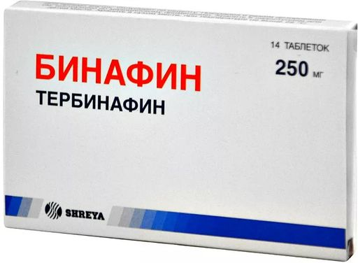 Бинафин, 250 мг, таблетки, 14шт.
