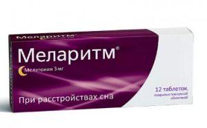 Меларитм, 3 мг, таблетки, покрытые оболочкой, 12шт.