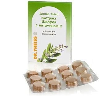 Доктор Тайсс экстракт Шалфея с витамином C, таблетки для рассасывания, 24шт.