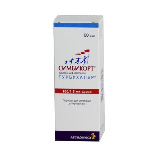 Симбикорт Турбухалер, 160+4.5 мкг/доза, 60 доз, порошок для ингаляций дозированный, 1шт.