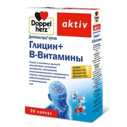 Доппельгерц актив Глицин + B-Витамины, 610 мг, капсулы, 30шт.