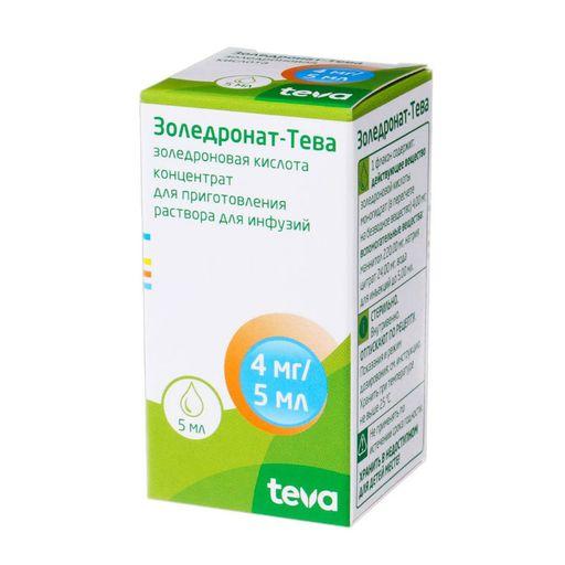 Золедронат-Тева, 4 мг/5 мл, концентрат для приготовления раствора для инфузий, 5 мл, 1шт.