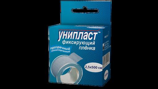 Унипласт пластырь фиксирующий, 2.5х500, пластырь медицинский, на основе медицинской пленки, 1шт.
