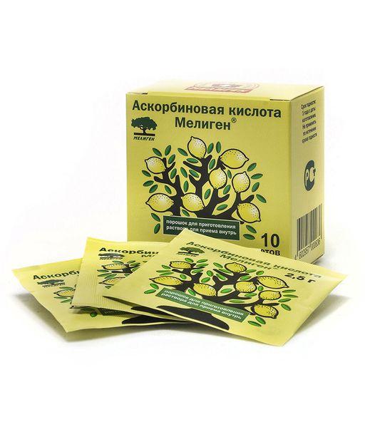 Аскорбиновая кислота Мелиген, порошок, 2.5 г, 10шт.
