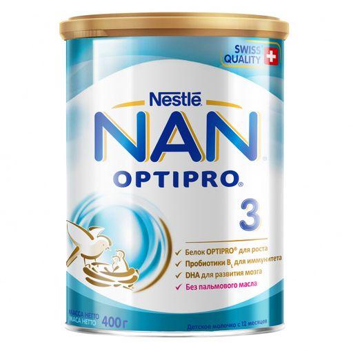 NAN 3 Optipro, для детей с 12 месяцев, напиток молочный сухой, с пробиотиками, 400 г, 1шт.