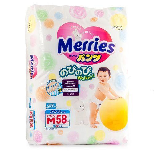 Подгузники-трусики детские Merries, 6-10 кг, р. M, 58шт.